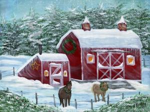 Winter Horses by Red Barn by Cheryl Bartley