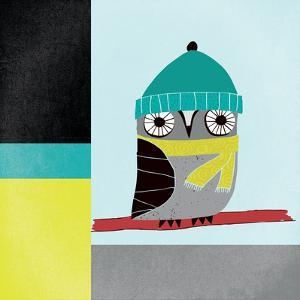 Owls II Blue Gray and Yellow by Cheryl Warrick