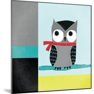 Owls III Blue Gray and Yellow by Cheryl Warrick