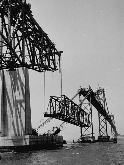 Chesapeake Bay Bridge, Final Span of 4-Mile-Long Bridge Fitted into Place--Photographic Print