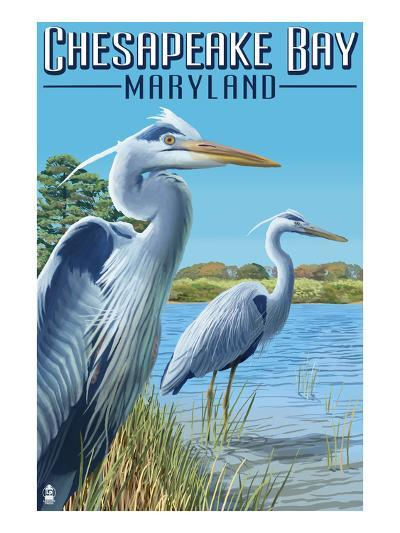 Chesapeake Bay, Maryland - Blue Heron-Lantern Press-Art Print