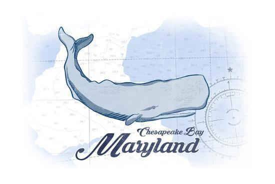 Chesapeake Bay, Maryland - Whale - Blue - Coastal Icon-Lantern Press-Art Print