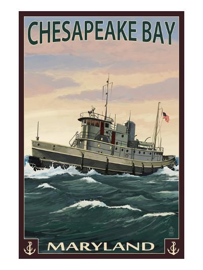 Chesapeake Bay Tugboat Scene-Lantern Press-Art Print