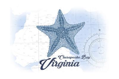 Chesapeake Bay, Virginia - Starfish - Blue - Coastal Icon-Lantern Press-Art Print