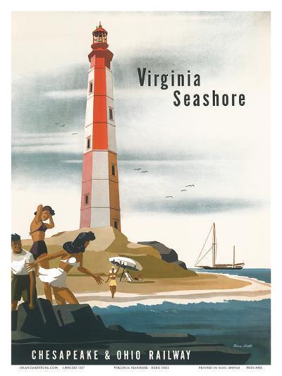 Chesapeake & Ohio Railroad: Virginia Seashore, c.1950s-Bern Hill-Art Print