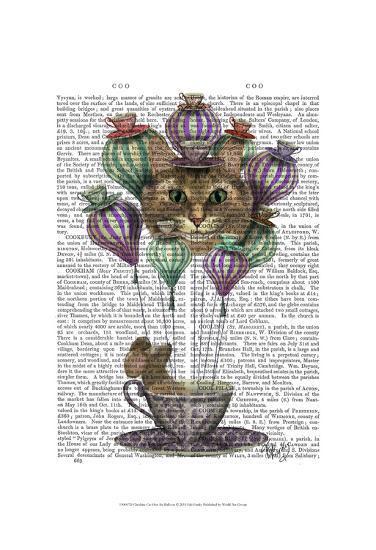 Cheshire Cat Hot Air Balloon-Fab Funky-Art Print