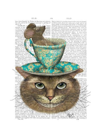 Cheshire Cat with Cup on Head-Fab Funky-Art Print
