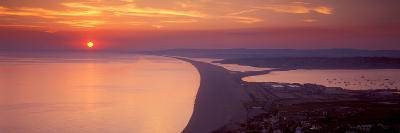 Chesil Beach at Sunset, Portland, Dorset, England--Photographic Print