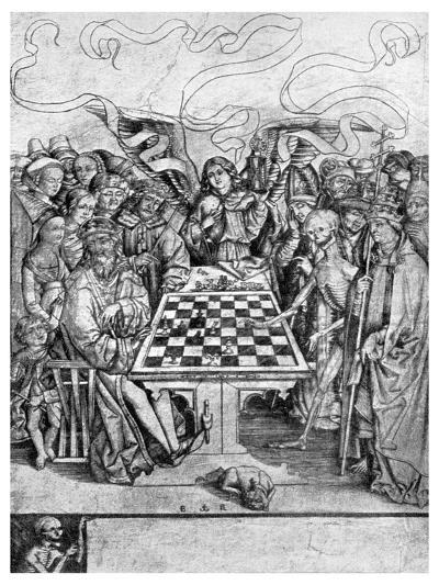 Chess: Death Checkmating a King, C1400--Giclee Print