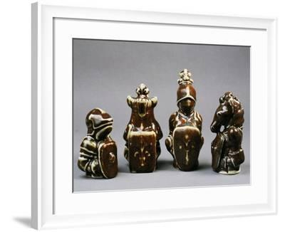 Chess Pieces Depicting Pawn, King, Queen and Knight--Framed Giclee Print