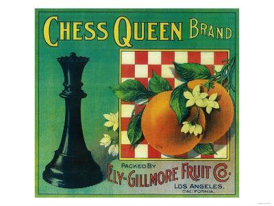 Chess Queen Orange Label - Los Angeles, CA-Lantern Press-Art Print