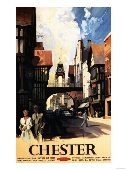 Chester, England - Street View with Couple and Tower Clock Rail Poster-Lantern Press-Art Print