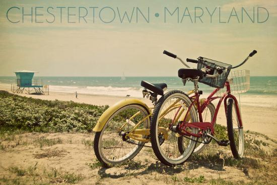 Chestertown, Maryland - Bicycles and Beach Scene-Lantern Press-Wall Mural