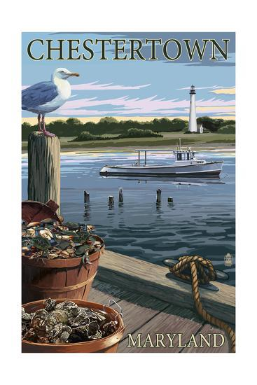 Chestertown, Maryland - Blue Crab and Oysters on Dock-Lantern Press-Art Print