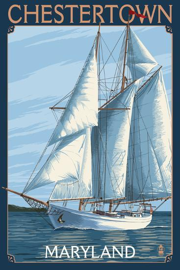 Chestertown, Maryland - Sailboat Scene-Lantern Press-Art Print