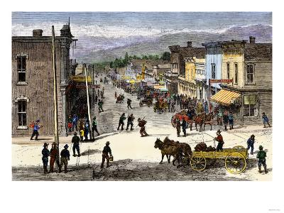 Chestnut Street in Leadville, Colorado, During the Mining Boom, 1870s--Giclee Print