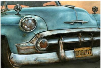 Chevrolet Bel Air Bleue-Cobe-Art Print