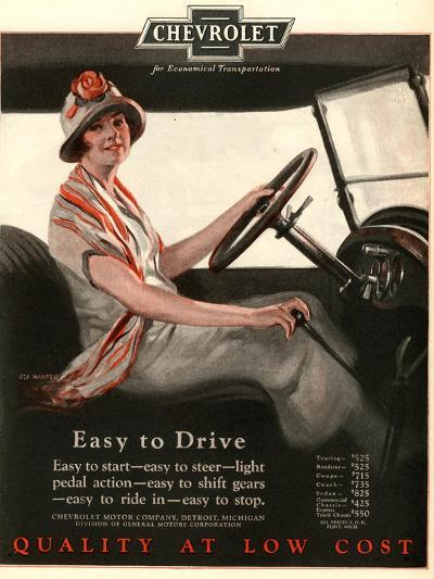 Chevrolet, Women Woman Drivers Driving Cars, USA, 1920--Giclee Print