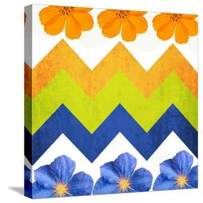 Chevron Pattern with Flowers-Irena Orlov-Stretched Canvas Print