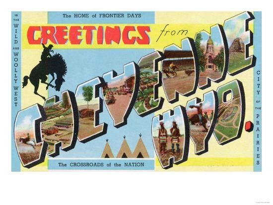 Cheyenne, Wyoming - Large Letter Scenes, Greetings From-Lantern Press-Art Print