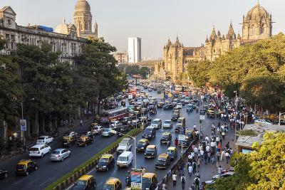Chhatrapati Shivaji Terminus Train Station and Central Mumbai, India-Peter Adams-Photographic Print