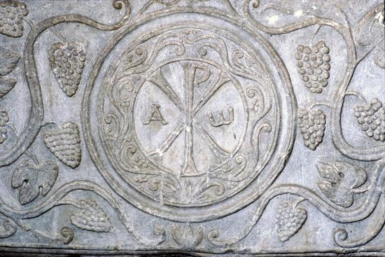 Chi-Rho symbol from Coptic sarcophagus, 7th century-Unknown-Giclee Print