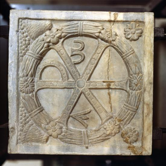Chi-Ro symbol with Alpha and Omega, Early Christian Sarcophagus, Rome, 4th century-Unknown-Giclee Print