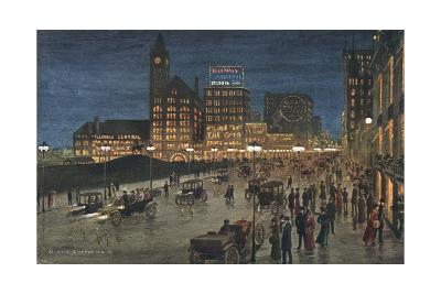 Chicago at Night--Giclee Print
