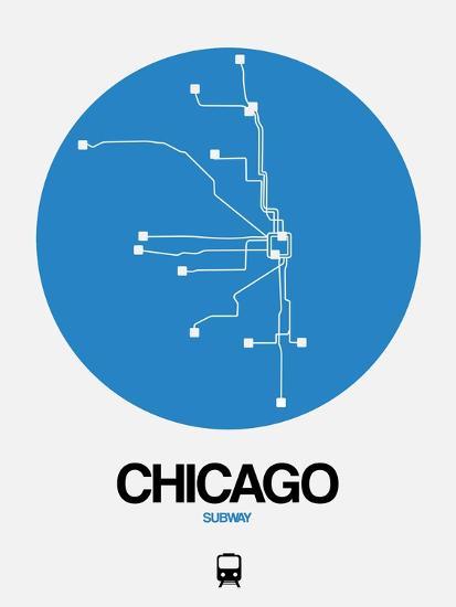 Chicago Blue Subway Map Art Print By Naxart Art Com