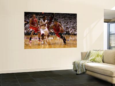 Chicago Bulls v Miami Heat - Game ThreeMiami, FL - MAY 22: Derrick Rose and Mario Chalmers-Marc Serota-Giant Art Print