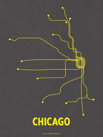 Chicago (Dark Gray & Yellow)-LinePosters-Serigraph