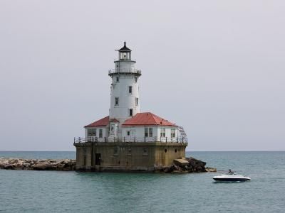 Chicago Harbor Lighthouse, Lake Michigan, Chicago, Illinois, USA-Amanda Hall-Photographic Print
