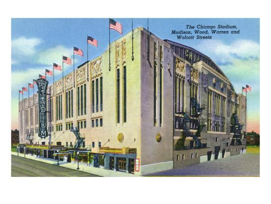 Chicago, IL, Exterior of Chicago Stadium, Madison, Wood, Warren, and Wolcott Streets-Lantern Press-Art Print