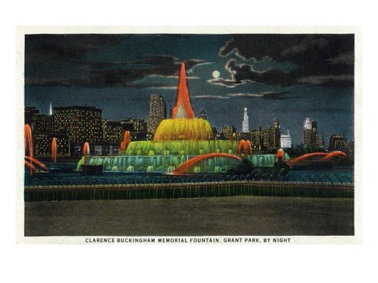 Chicago, IL, Grant Park, Panoramic View of the C. Buckingham Memorial Fountain at Night-Lantern Press-Art Print