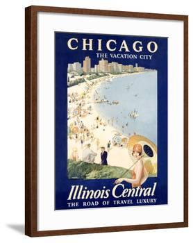 Chicago Illinois Central Train-null-Framed Giclee Print