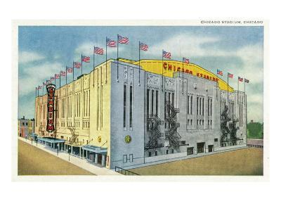 Chicago, Illinois - Chicago Stadium Exterior View-Lantern Press-Art Print