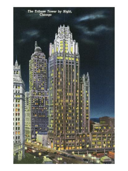 Chicago, Illinois, Exterior View of an Illuminated Tribune Tower at Night-Lantern Press-Art Print