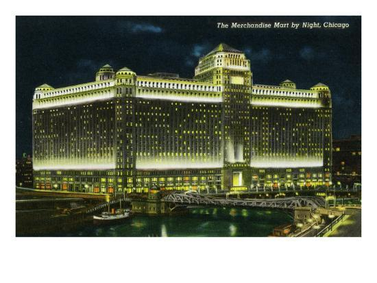 Chicago, Illinois, Exterior View of the Merchandise Mart Building at Night-Lantern Press-Art Print