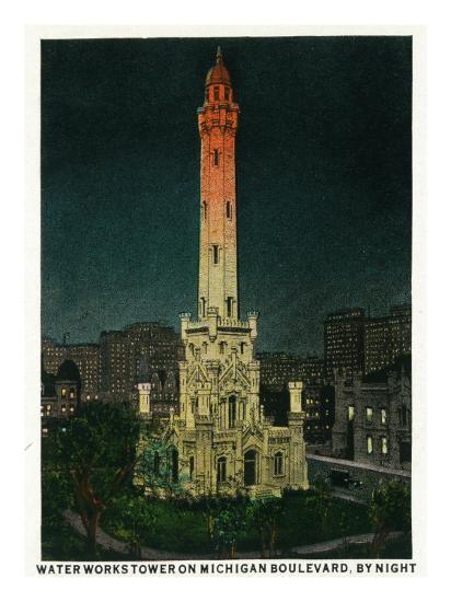 Chicago, Illinois, Exterior View of the Waterworks Tower on Michigan Blvd at Night-Lantern Press-Art Print
