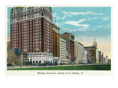 Chicago, Illinois - Michigan Boulevard North Scene-Lantern Press-Art Print