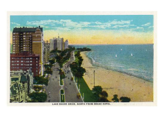 Chicago, Illinois - Northern Aerial View of Lake Shore Drive from Drake Hotel, c.1929-Lantern Press-Art Print