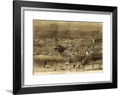 Chicago, Illinois - Panoramic Map No. 1-Lantern Press-Framed Art Print