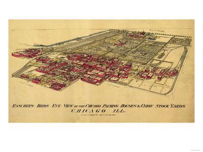 Chicago, Illinois - Panoramic Map-Lantern Press-Art Print