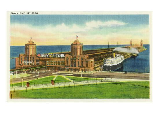 Chicago, Illinois, Panoramic View of Navy Pier-Lantern Press-Art Print