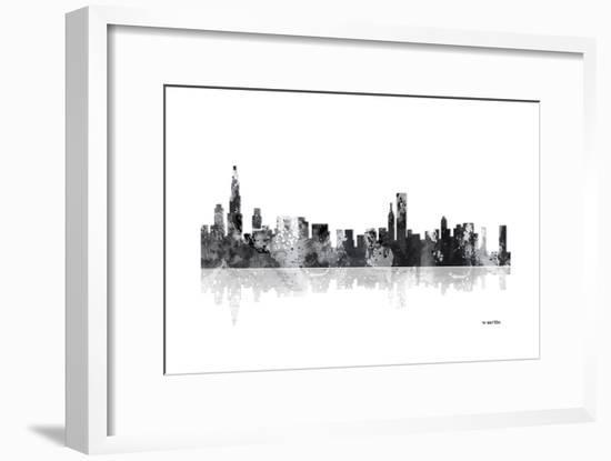 Chicago Illinois Skyline BG 1-Marlene Watson-Framed Giclee Print