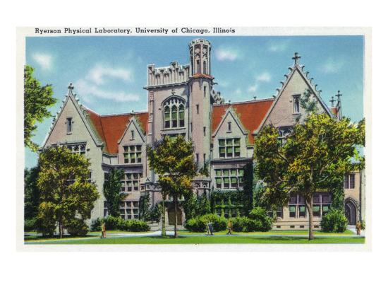 Chicago, Illinois, University of Chicago, Exterior View of the Ryerson Physical Laboratory-Lantern Press-Art Print