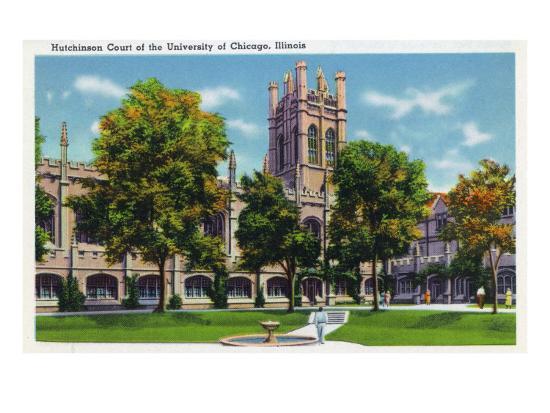Chicago, Illinois, University of Chicago, View of Hutchinson Court-Lantern Press-Art Print