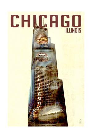 Chicago, Illinois - Willis Tower Double Exposure-Lantern Press-Art Print