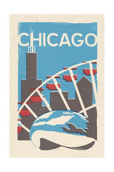 Chicago, Illinois - Woodblock-Lantern Press-Art Print