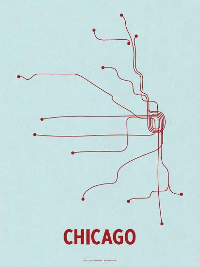Chicago (Light Blue & Red)-LinePosters-Serigraph